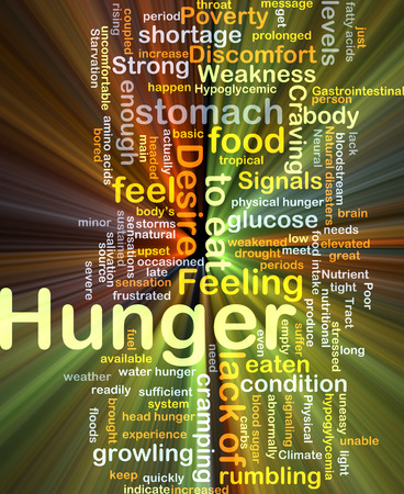 Background concept wordcloud illustration of hunger glowing light