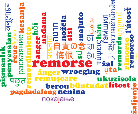 remorse: Background concept wordcloud multilanguage international many language illustration of remorse Stock Photo
