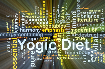 sourced: Background concept wordcloud illustration of yogic diet glowing light