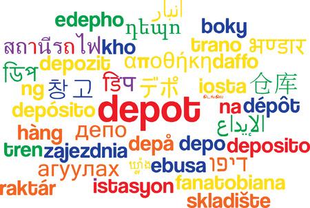 depot: Background concept wordcloud multilanguage international many language illustration of depot
