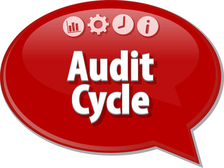 auditing: Speech bubble dialog illustration of business term saying Audit Cycle Finance Stock Photo