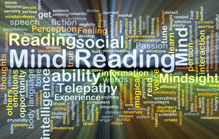 Background concept wordcloud illustration of mind reading glowing light Stock Photo