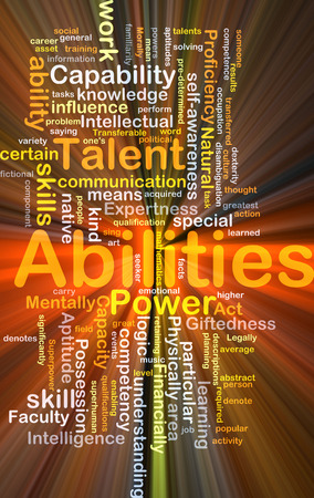 Background concept wordcloud illustration of abilities glowing light
