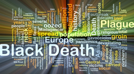 pus: Background concept wordcloud illustration of Black Death glowing light