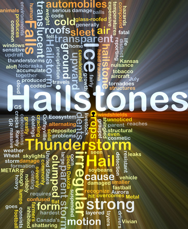 storm damage: Background concept wordcloud illustration of hailstones glowing light Stock Photo