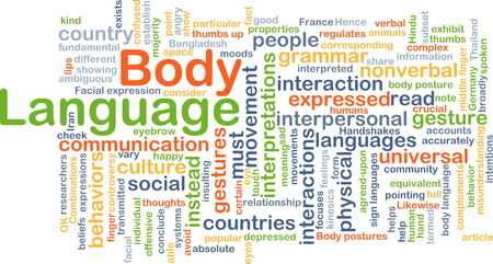nonverbal: Background concept wordcloud illustration of body language