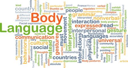 lenguaje corporal: Concepto de fondo wordcloud ilustración del lenguaje corporal Foto de archivo