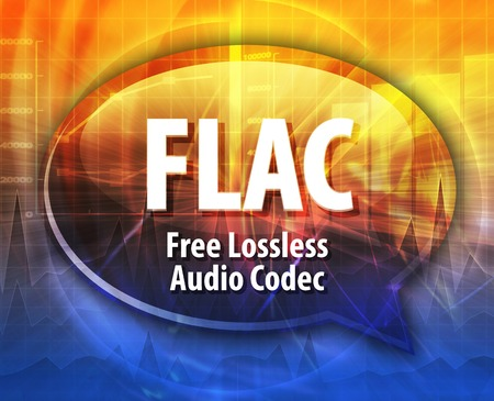 abbreviation: Speech bubble illustration of information technology acronym abbreviation term definition FLAC Free Losless Audio Codec