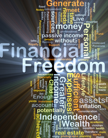 potentially: Background concept wordcloud illustration of financial freedom glowing light Stock Photo