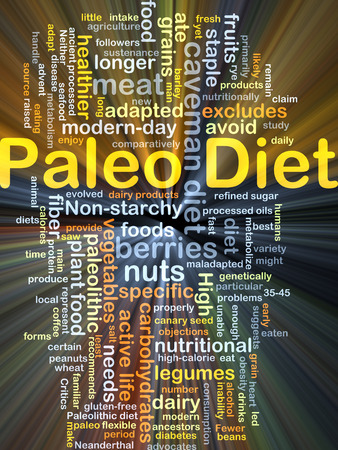 healthier: Background concept wordcloud illustration of Paleo diet glowing light Stock Photo