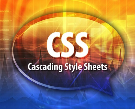 Speech bubble illustration of information technology acronym abbreviation term definition CSS Cascading Style Sheets Stock Photo