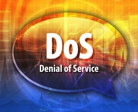 denial: Speech bubble illustration of information technology acronym abbreviation term definition DoS Denial of Service