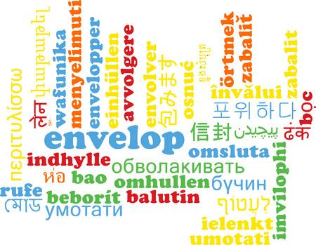 envelop: Background concept wordcloud multilanguage international many language illustration of envelop