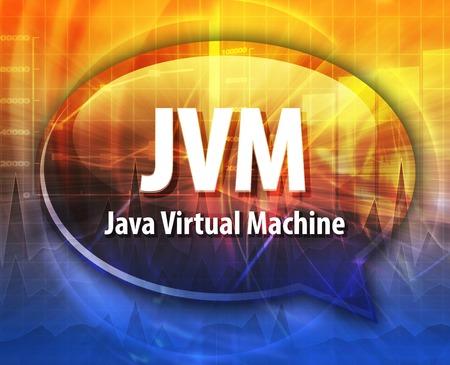 abbreviation: Speech bubble illustration of information technology acronym abbreviation term definition JVM Java Virtual Machine