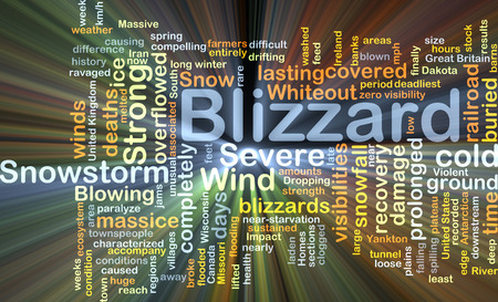 blizzard: Background concept wordcloud illustration of blizzard glowing light
