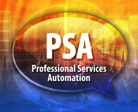 psa: Speech bubble illustration of information technology acronym abbreviation term definition PSA Professional Services Automation Stock Photo