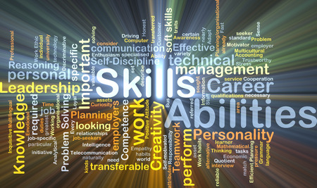 traits: Background concept wordcloud illustration of skills abilities glowing light