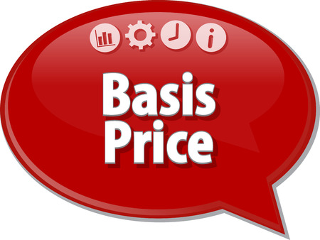 basis: Speech bubble dialog illustration of business term saying Basis Price