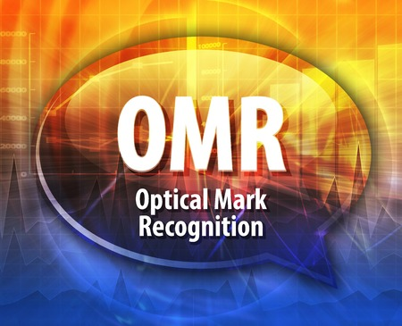 abbreviation: Speech bubble illustration of information technology acronym abbreviation term definition OMR Optical Mark Recognition