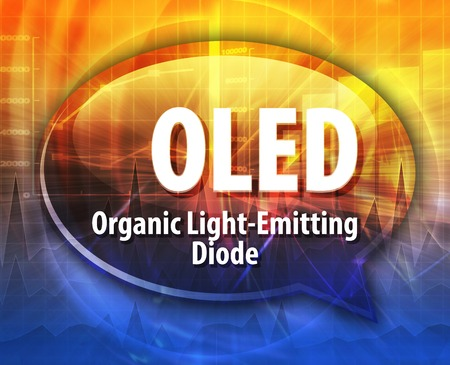 term: Speech bubble illustration of information technology acronym abbreviation term definition OLED Organic Light-Emitting Diode