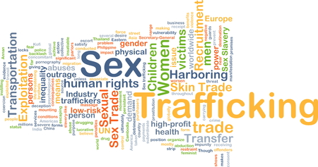 Background concept wordcloud illustration of sex trafficking Stock Photo