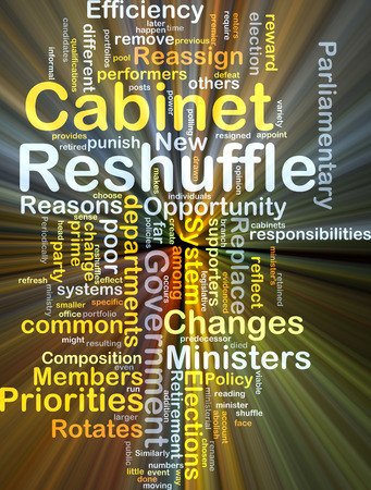 priorities: Background concept wordcloud illustration of cabinet reshuffle glowing light