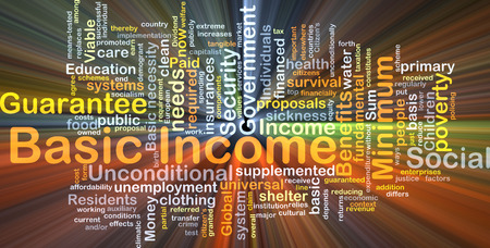 basic care: Background concept wordcloud illustration of basic income glowing light Stock Photo