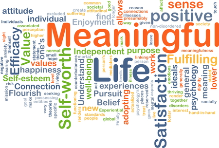 Background concept wordcloud illustration of meaningful life