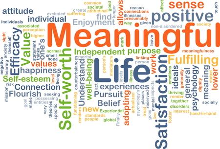 Hintergrund Konzept Wordcloud Abbildung des sinnvollen Lebens Lizenzfreie Bilder