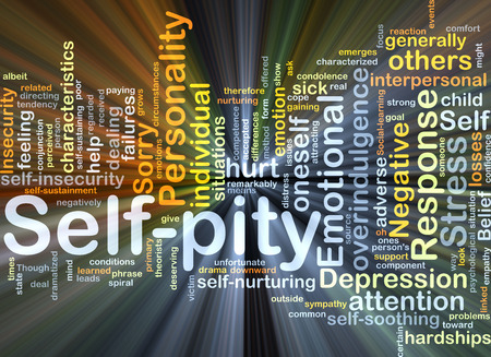 condolence: Background concept wordcloud illustration of self-pity glowing light