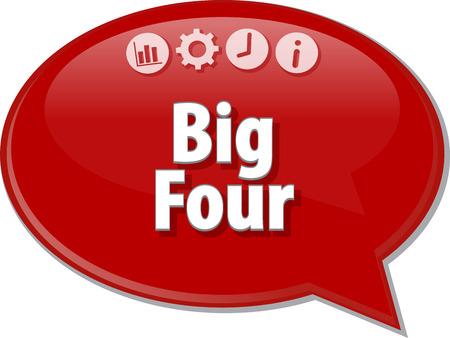 term: Speech bubble dialog illustration of business term saying Big Four Stock Photo