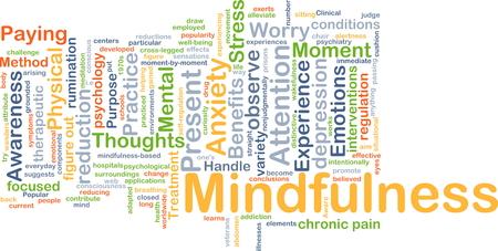 Achtergrond concept wordcloud illustratie van mindfulness Stockfoto
