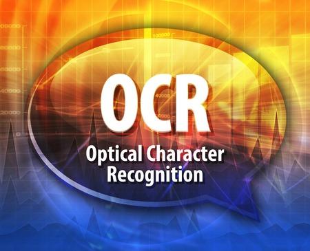 情報技術頭字語略語用語定義 OCR の光学文字認識の音声バブル イラスト 写真素材