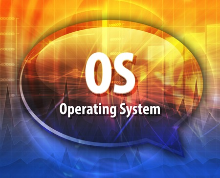 operating system: Speech bubble illustration of information technology acronym abbreviation term definition OS Operating System