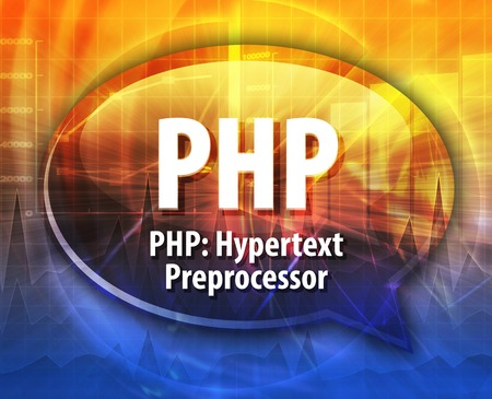 hypertext: Speech bubble illustration of information technology acronym abbreviation term definition PHP Hypertext Preprocessor