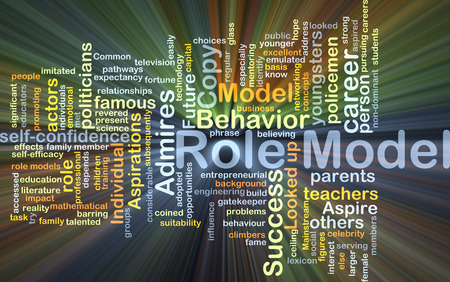 role  model: Background concept wordcloud illustration of role model glowing light