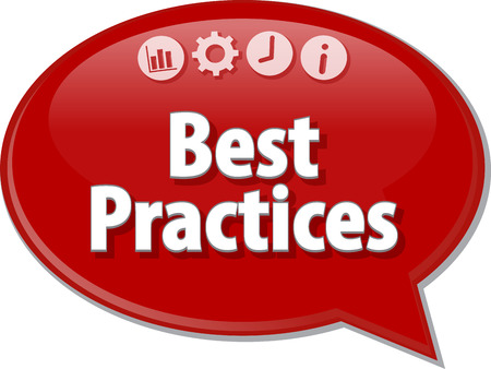 best practices: Speech bubble dialog illustration of business term saying Best Practices Stock Photo