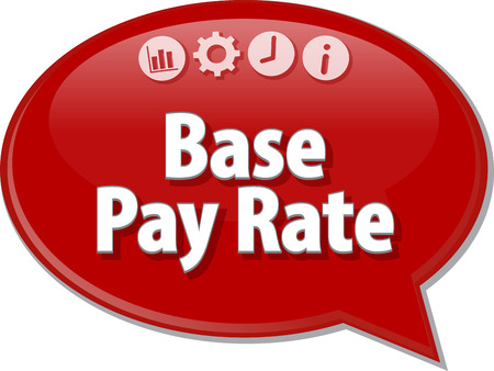 rate: Speech bubble dialog illustration of business term saying Base Pay Rate