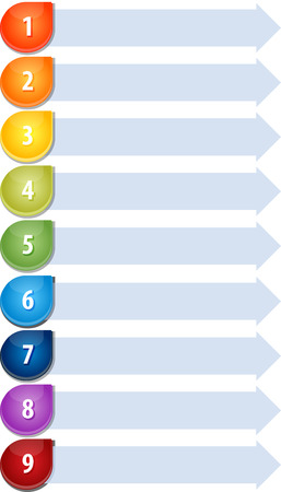 guidelines: Blank business strategy concept infographic diagram illustration Bullet List Nine Stock Photo