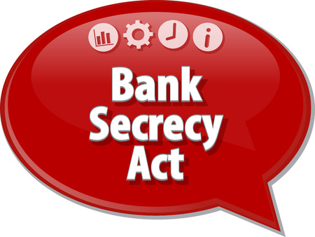 secrecy: Speech bubble dialog illustration of business term saying Bank Secrecy Act