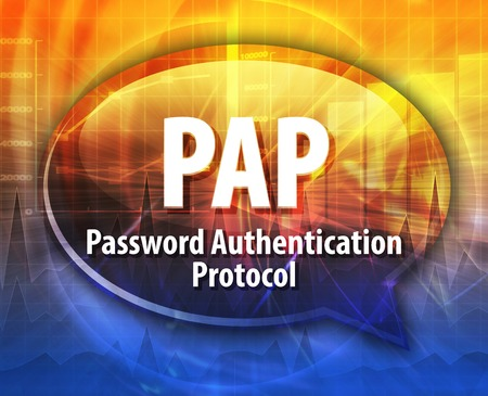 protocol: Speech bubble illustration of information technology acronym abbreviation term definition PAP Password Authentication Protocol Stock Photo