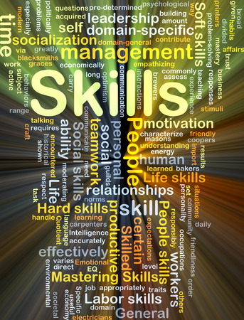 socialization: Background concept wordcloud illustration of skills glowing light Stock Photo