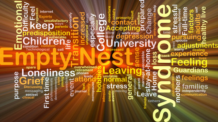 Background concept wordcloud illustration of empty nest syndrome glowing light