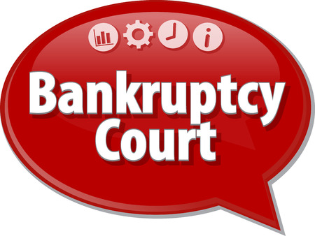 terminology: Speech bubble dialog illustration of business term saying Bankruptcy   Court