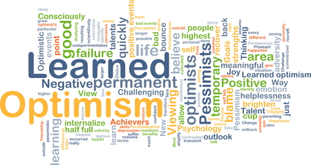 learned: Background concept wordcloud illustration of learned optimism