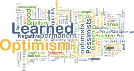 optimismo: Ilustración de wordcloud concepto de optimismo aprendido Foto de archivo