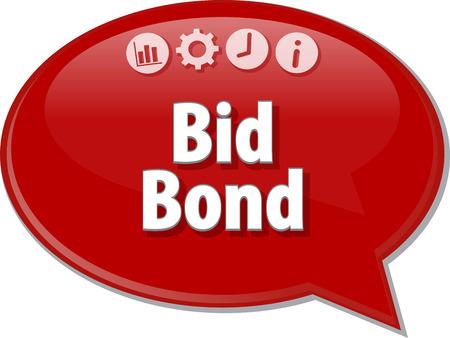 puja: ilustración de diálogo burbuja del discurso del término de negocios diciendo Bid Bond