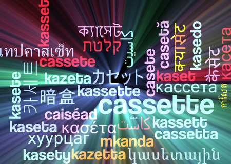 videocassette: Background concept wordcloud multilanguage international many language illustration of cassette glowing light