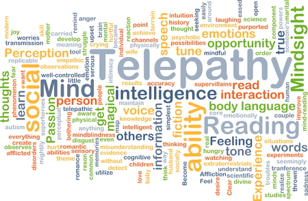 misunderstanding: Background concept wordcloud illustration of telepathy