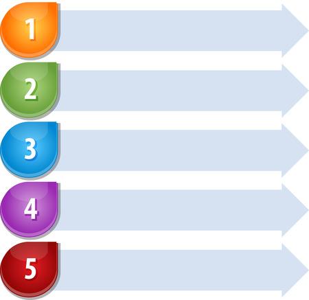 Blank business strategy concept infographic diagram illustration Bullet List Five Imagens